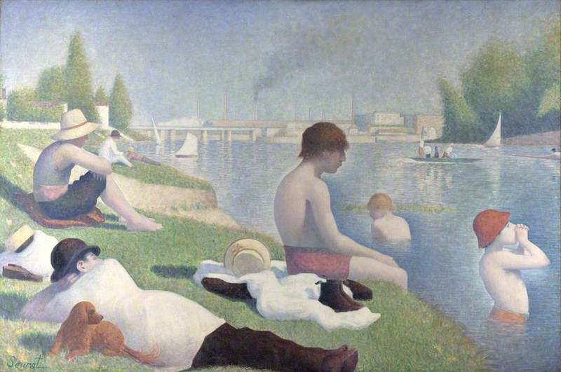 famous painting Bathers at Asnières of Georges Pierre Seurat